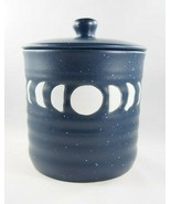 Stay Wild Moon Child Blue White Boho Moon Phase Ceramic Jar Cannister w/... - $26.59