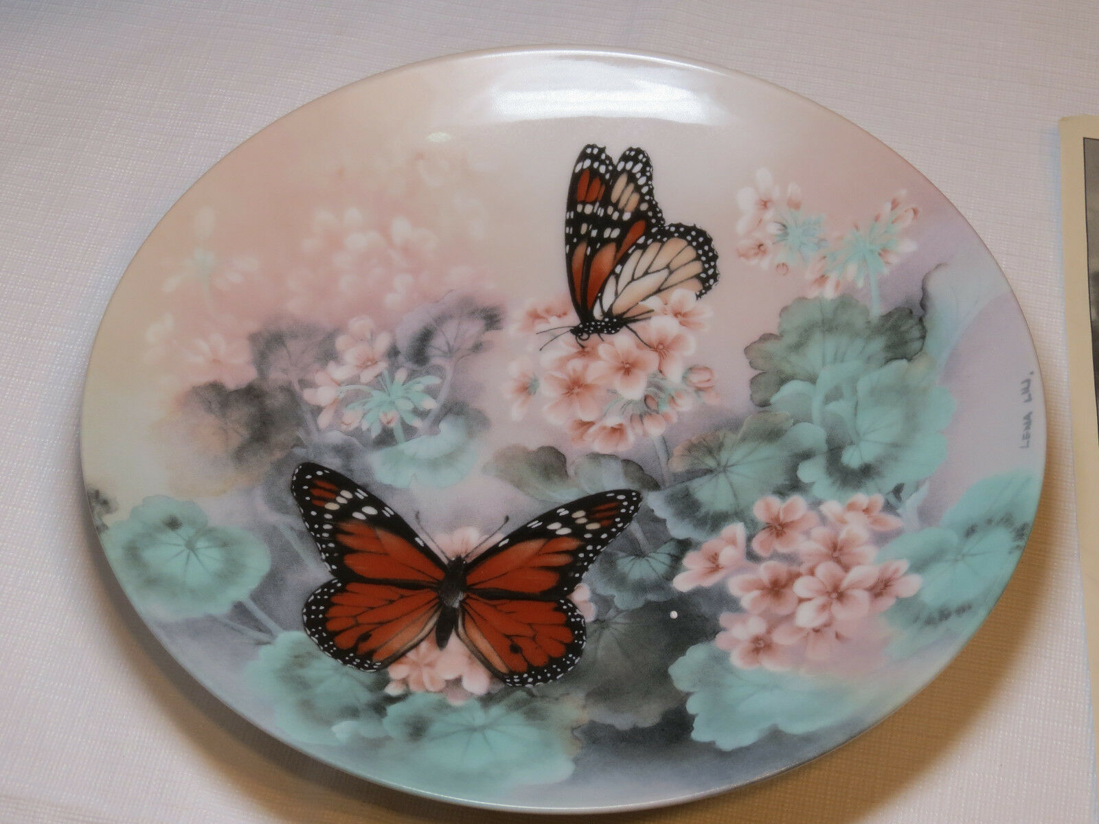 Primary image for On Gossamer Wings Monarch Butterflies Lena Liu collector plate 1st 1988 #%