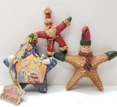 Christmas Ornaments 3 Rustic Primitive Jim Shore & Other Santa Nativity ... - $10.95
