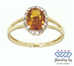 Citrino Gema 14K Oro Amarillo 1.04CT Real Natural Halo Anillo con Diamante - $208.77