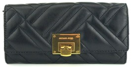 Michael Kors Vivianne Quilted Purse Wallet Black Leather Large - $272.06