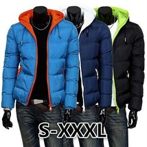 Downs Warm Winter Mens Jacket Casual Thick Cotton Hat Can Be Men Down Parka Coat - $40.80