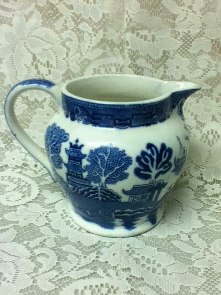 Primary image for Antique,Rare,  Allerton, Blue Willow, 5.5in H x 7in W Pitcher-Jug