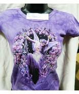 Gatekeeper Fairy with Flowers Hand Dyed Purple Baby Doll/Juniors Shirt U... - $16.99