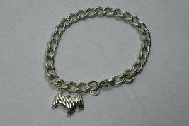 """TIFFANY & Co Estate Textured Oval Link Bracelet w Yorkie Dog Charm 8"""" - $363.75"""