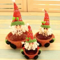 Christmas Handmade Basket Decoration Snowman Reindeer Santa Claus Xmas C... - $23.80
