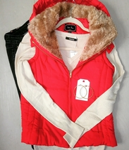 Red Puffer Vest, Plush Puffer Vest, Faux Fur Womens Vest, Colbert Clothing