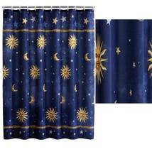 "Celestial Fabric Shower Curtain Moons, Stars, Suns Dimesions: 70"" x 71"" ... - $17.98"