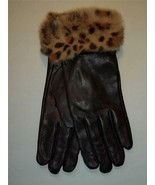 Long Black Leopard Cuff  Buttersoft Genuine Leather Gloves - $40.19