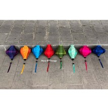 Set of 8 bamboo silk lanterns 35cm - Mix shapes and colors - Wedding dec... - $52.99