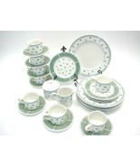 Sango SABRINA 8840-45 Dinner China Dishes Blue Green Leaves Checker Pattern 26pc - $74.61