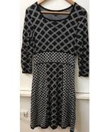 Spense Women's Black White 3/4 Sleeve Diamond Pattern Sweater Dress Size... - $18.95