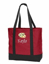 Personalized Red Art Class Tote Bag Embroidered School Monogrammed  - $19.47