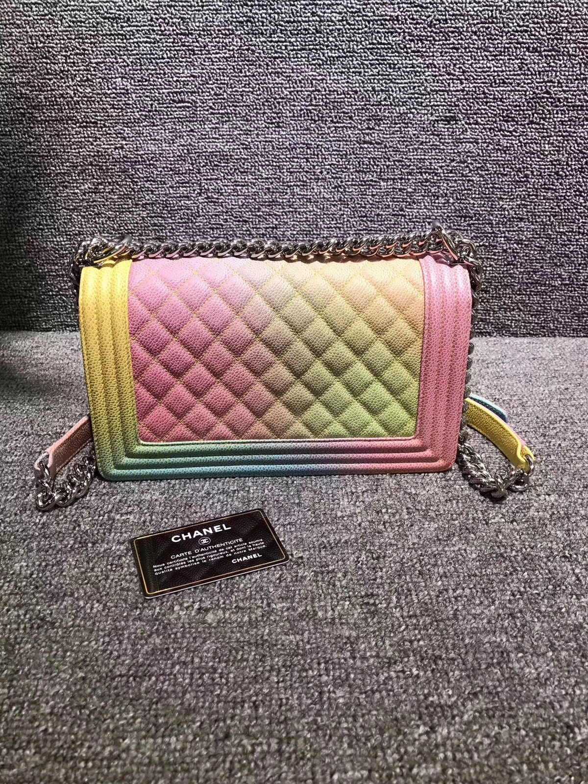 d7d95f63472704 AUTHENTIC CHANEL LIMITED EDITION RAINBOW QUILTED CAVIAR MEDIUM BOY FLAP BAG