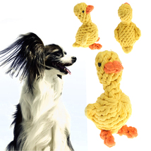 (yellow size M)Cotton Dog Chew Toy Cute Dog Knot Play Toy Cartoon Duck P... - $18.00
