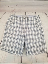 American Eagle Classic Length Blue/White Plaid Shorts Size 30 - $9.49