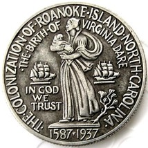 1937 Roanoke Commemorative Half Dollar Coin North Carolina Walter Raleigh - $11.99