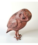 Vtg Metal Spotted Owl Figurine India Very Heavy FREE SHIPPING - $45.00