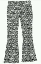 Faded Glory Girls Flare Fabric Pants Sz Xs 4-5 Black & White Elastic Waist - $4.99