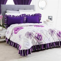 Purple with White Floral Carino Bedspread Set in Premium Quality Material - $89.95