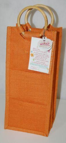 Drink Wear Orange Natural Fiber Wine Tote Round Bamboo Handles Coaster Pockets