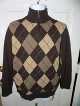 J. CREW ARGYLE SWEATER Brown Half Zip 100% Lambs Wool Size M Men's EUC - $26.70