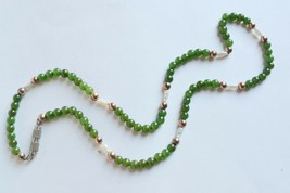 Vintage jade bead and freshwater pearl necklace delicate small gold&gree... - $32.66