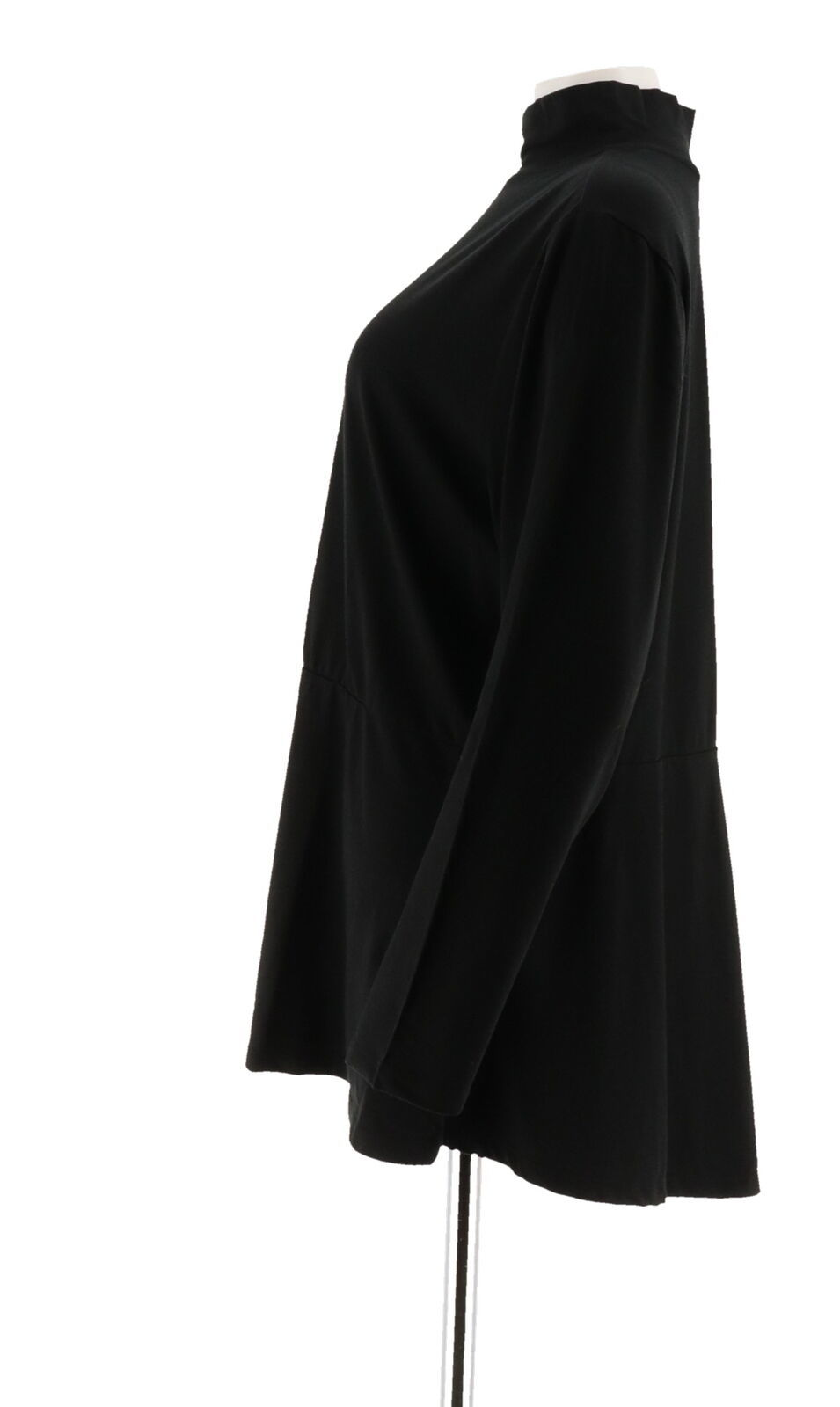 Isaac Mizrahi Knit Mock Neck Long Sleeves Peplum Top Hi-Low Black L NEW A295815