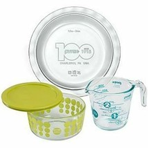 PYREX 4-Piece 100-Year Anniversary SET GREEN NEW IN THE BOX SEALED USA - $59.39