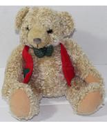 Hallmark TYLER CHRISTMAS BOY TEDDY BEAR Red Vest Plaid STUFFED PLUSH SOF... - $13.50