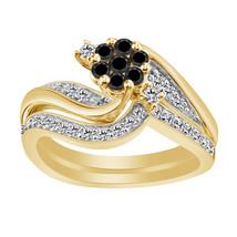 0.77 Ct Black & White Diamond 14k Yellow Gold 925 Engagement Wedding Ring Set - $87.90