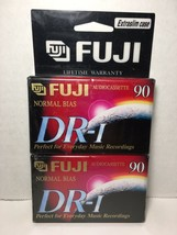 Lot Of 2 Blank Fuji Audio Cassettes DR-I 90 Minutes Tapes Extra Slim Case - $9.49
