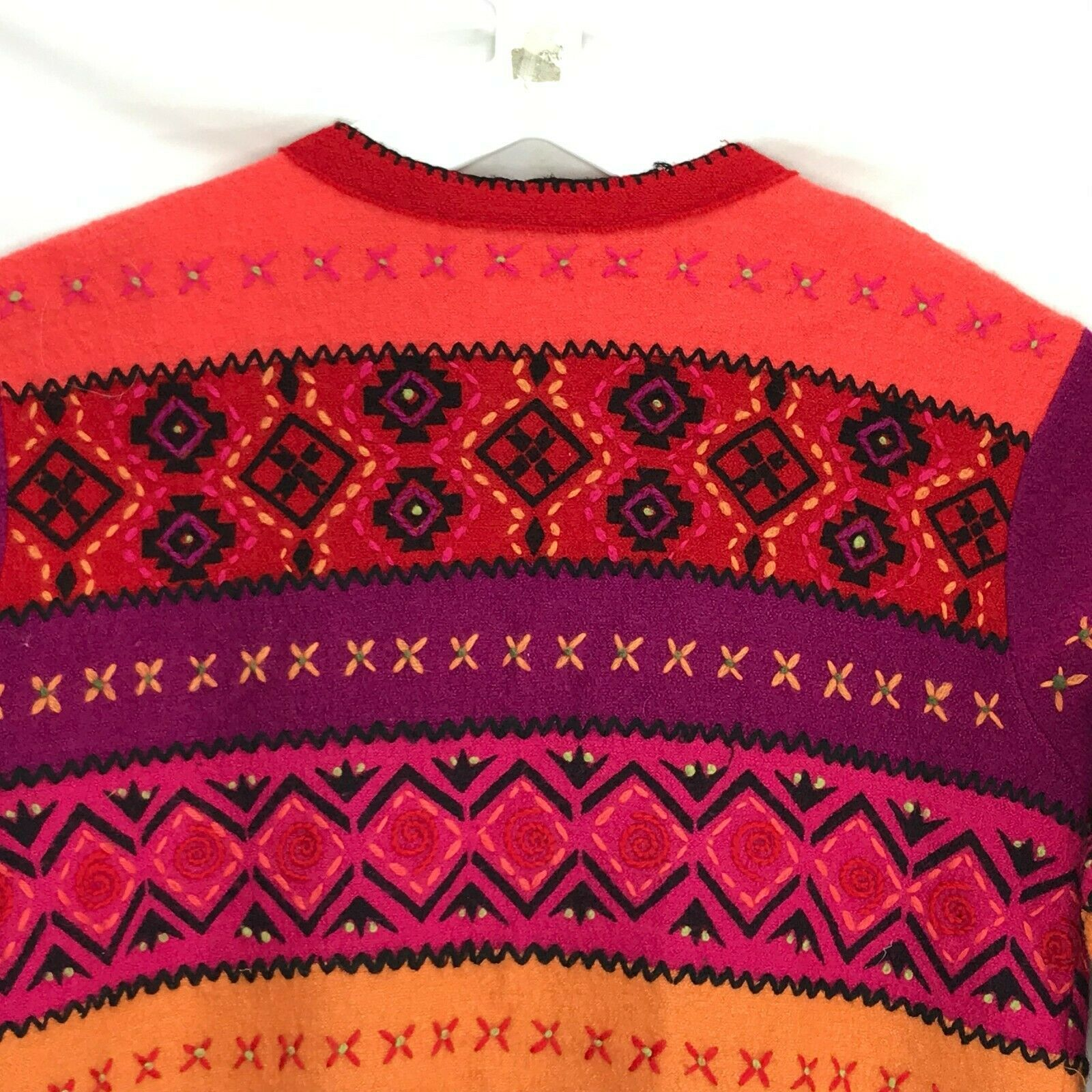 Susan Bristol Wool Cardigan Sweater Size Large L Button Front Hand Embroidered image 10