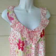 Morgan Taylor Short Nightgown Satin Floral Pink White Green Yellow Purpl... - $24.70