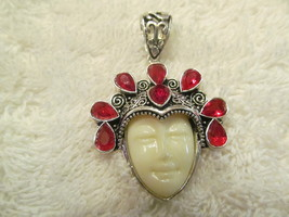 GODDESS PENDENT, WHITE FACE AND RED STONES. HANDMADE. - $25.00