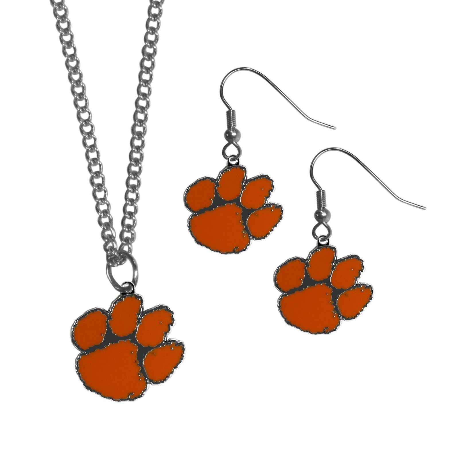 Caa clemson tigers dangle earrings and chain necklace set default title jademoghul 3656950808680