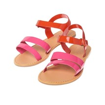 NWT Crazy 8 Colorblock Pink Orange Faux Leather Girls Sandals Shoes 12 - $10.88