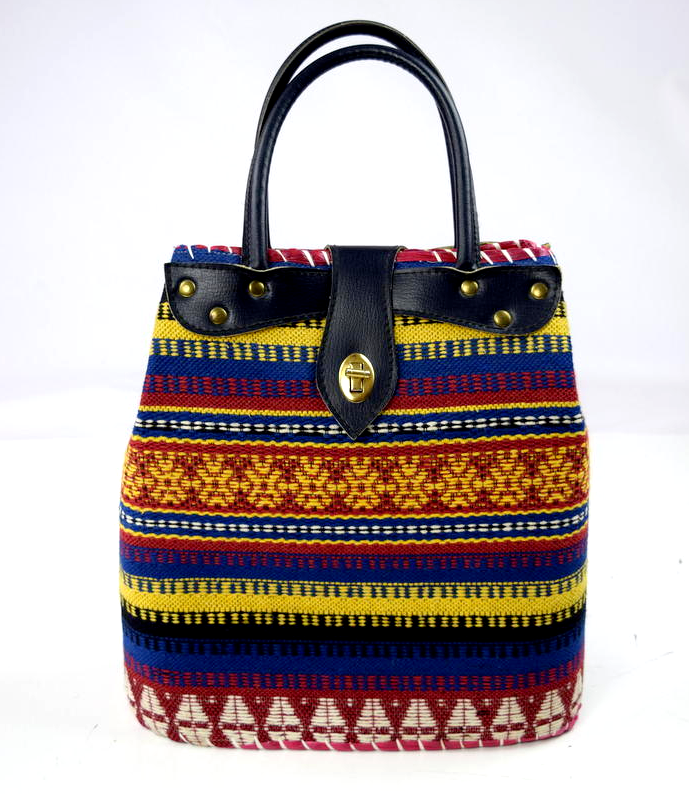 Primary image for Vtg Multi Color Structured Southwest Woven Bucket Tote Handbag Satchel Purse L