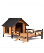 Wooden Large Spacious Dog House With Porch Deck Outdoor Pet Cat Puppy Ke... - $255.99