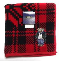 POLO Ralph Lauren Mini Towel Handkerchief Face washer Cotton Red Bear Au... - $16.83