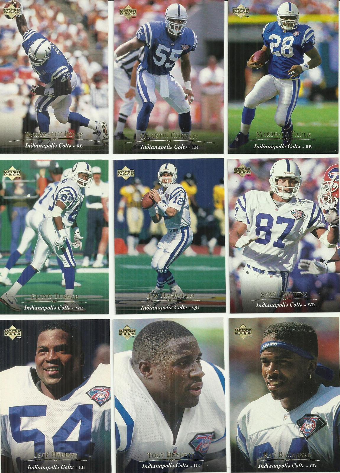 (9) 1995 Upper Deck (Indianapolis Colts Complete Team Set) See Scans!