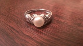 STERLING SILVER 6MM FRESHWATER WHITE PEARL RING -  SIZE 6 - £38.60 GBP
