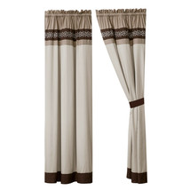 4-Pc Bailey Curtain Set Drape Sheer Liner|Clover Scroll Floral|Brown Taupe Beige - $40.89