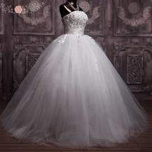 3D Floral Lace Corset Wedding Ball Gown Puffy Princess Wedding Dress