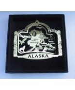Alaska State Landmarks Brass Ornament Black Leatherette Gift Box - $14.95