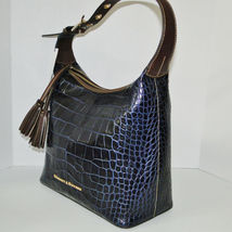 Dooney & Bourke Paige Sac Leather Croco Emb Hobo Blue image 4