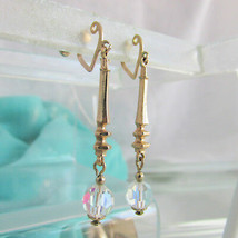 Vintage Sparkly Clear Crystal Slender Drop Earrings Gold Plate Heart Scr... - $13.49