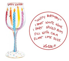 """Lolita """"Happy Birthday"""" Wine Glass Hand-Painted LOVE MY WINE New in Box - $15.25"""