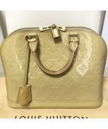 Auth Louis Vuitton Vernis Alma Monogram Handbag Beige Inner Pockets LVB0796 - $672.21
