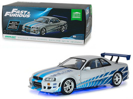 1999 NISSAN SKYLINE GT-R (R34) W/ LED LIGHT FAST & FURIOUS 1/18 GREENLIG... - $89.95